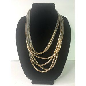 Metallic Boho 6 Strand Beaded Statement Necklace